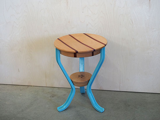 light blue heritage milking stool